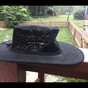 Women's western cowboy hat lace leather Medium